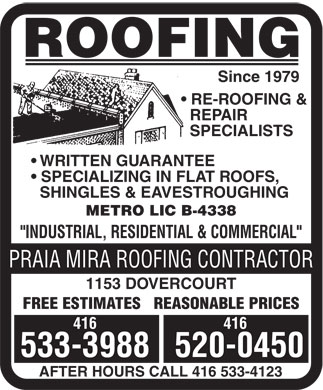 Praia Mira Roofing Contractor (416-533-3988) - Display Ad