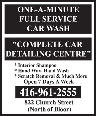 One A Minute Car Wash (416-961-2555) - Annonce illustr&eacute;e