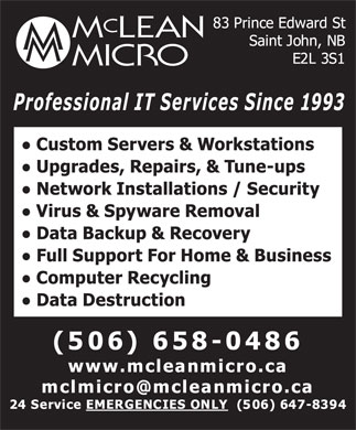 Mclean Micro (506-658-0486) - Display Ad