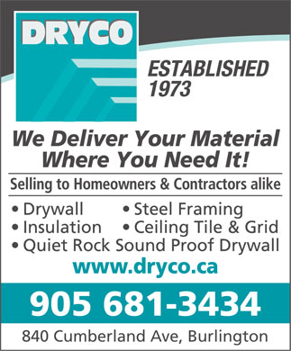 Dryco (905-681-3434) - Display Ad - 905 681-3434 840 Cumberland Ave, Burlington  905 681-3434 840 Cumberland Ave, Burlington