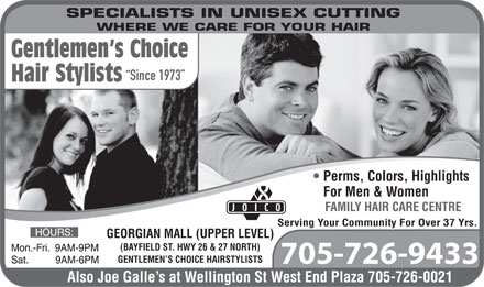 Gentlemen's Choice Hairstylists (705-726-9433) - Display Ad