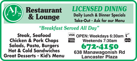 AJ's Restaurant & Lounge (506-672-4150) - Display Ad