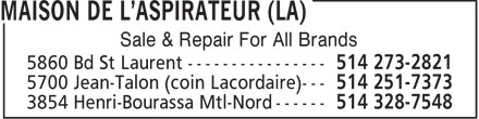 Maison de l'Aspirateur (La) (514-273-2821) - Display Ad - Sale & Repair For All Brands