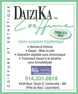 Daizika Coiffure Inc (514-331-0818) - Display Ad