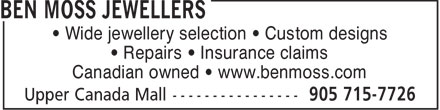 Ben Moss Jewellers (905-715-7726) - Display Ad