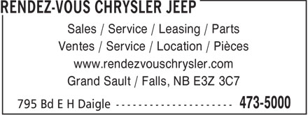 Rendez-Vous Chrysler Jeep (506-473-5000) - Annonce illustr&eacute;e - Sales / Service / Leasing / Parts Ventes / Service / Location / Pi&egrave;ces www.rendezvouschrysler.com Grand Sault / Falls, NB E3Z 3C7  Sales / Service / Leasing / Parts Ventes / Service / Location / Pi&egrave;ces www.rendezvouschrysler.com Grand Sault / Falls, NB E3Z 3C7  Sales / Service / Leasing / Parts Ventes / Service / Location / Pi&egrave;ces www.rendezvouschrysler.com Grand Sault / Falls, NB E3Z 3C7  Sales / Service / Leasing / Parts Ventes / Service / Location / Pi&egrave;ces www.rendezvouschrysler.com Grand Sault / Falls, NB E3Z 3C7  Sales / Service / Leasing / Parts Ventes / Service / Location / Pi&egrave;ces www.rendezvouschrysler.com Grand Sault / Falls, NB E3Z 3C7  Sales / Service / Leasing / Parts Ventes / Service / Location / Pi&egrave;ces www.rendezvouschrysler.com Grand Sault / Falls, NB E3Z 3C7  Sales / Service / Leasing / Parts Ventes / Service / Location / Pi&egrave;ces www.rendezvouschrysler.com Grand Sault / Falls, NB E3Z 3C7  Sales / Service / Leasing / Parts Ventes / Service / Location / Pi&egrave;ces www.rendezvouschrysler.com Grand Sault / Falls, NB E3Z 3C7  Sales / Service / Leasing / Parts Ventes / Service / Location / Pi&egrave;ces www.rendezvouschrysler.com Grand Sault / Falls, NB E3Z 3C7  Sales / Service / Leasing / Parts Ventes / Service / Location / Pi&egrave;ces www.rendezvouschrysler.com Grand Sault / Falls, NB E3Z 3C7  Sales / Service / Leasing / Parts Ventes / Service / Location / Pi&egrave;ces www.rendezvouschrysler.com Grand Sault / Falls, NB E3Z 3C7  Sales / Service / Leasing / Parts Ventes / Service / Location / Pi&egrave;ces www.rendezvouschrysler.com Grand Sault / Falls, NB E3Z 3C7  Sales / Service / Leasing / Parts Ventes / Service / Location / Pi&egrave;ces www.rendezvouschrysler.com Grand Sault / Falls, NB E3Z 3C7  Sales / Service / Leasing / Parts Ventes / Service / Location / Pi&egrave;ces www.rendezvouschrysler.com Grand Sault / Falls, NB E3Z 3C7  Sales / Service / Leasing / Parts Ventes / Service / Location / Pi&egrave;ces www.rendezvouschrysler.com Grand Sault / Falls, NB E3Z 3C7  Sales / Service / Leasing / Parts Ventes / Service / Location / Pi&egrave;ces www.rendezvouschrysler.com Grand Sault / Falls, NB E3Z 3C7  Sales / Service / Leasing / Parts Ventes / Service / Location / Pi&egrave;ces www.rendezvouschrysler.com Grand Sault / Falls, NB E3Z 3C7  Sales / Service / Leasing / Parts Ventes / Service / Location / Pi&egrave;ces www.rendezvouschrysler.com Grand Sault / Falls, NB E3Z 3C7