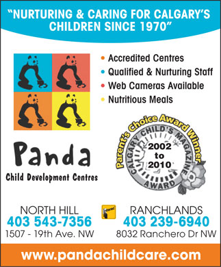 Panda Child Development Centre (403-543-7356) - Annonce illustrée