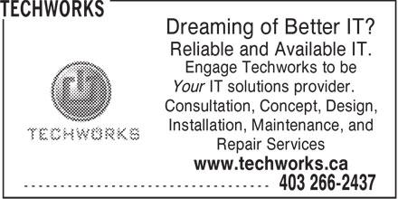 Techworks (403-266-2437) - Annonce illustrée======= - TECHWORKS - COMPUTER CONCEPT - COMPUTER CONSULTATION - COMPUTER DESIGN - COMPUTER INSTALLATION - COMPUTER MAINTENANCE - COMPUTER REPAIR SERVICES