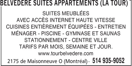 La Tour Belv&eacute;d&egrave;re H&ocirc;tel Appartments (514-935-9052) - Annonce illustr&eacute;e