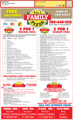 Family Pizza (306-446-1212) - Menu