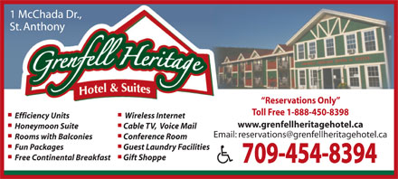 Grenfell Heritage Hotel &amp; Suites (709-454-8394) - Annonce illustr&eacute;e