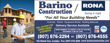 Barino Construction/Rona (1-888-236-0022) - Display Ad