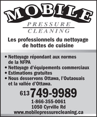 Mobile Pressure Cleaning (613-749-9989) - Annonce illustrée