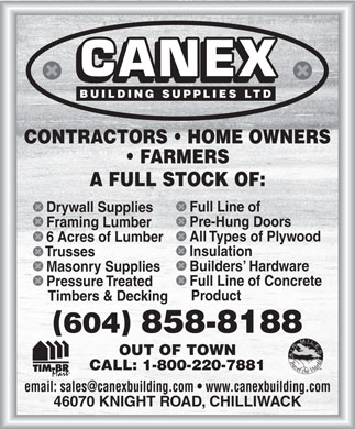 Canex Building Supplies Ltd (604-824-3736) - Annonce illustrée