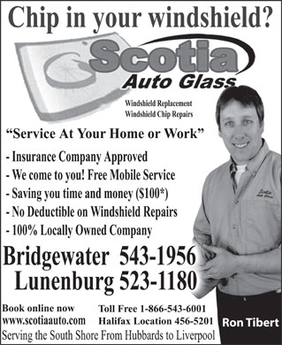 Scotia Auto Glass (902-523-1180) - Annonce illustr&eacute;e - Ron Tibert