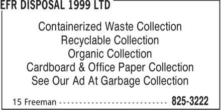 EFR Disposal 1999 Ltd (902-825-3222) - Display Ad