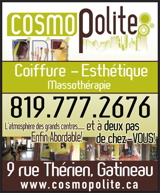 Cosmopolite (819-777-2676) - Display Ad - www.cosmopolite.ca