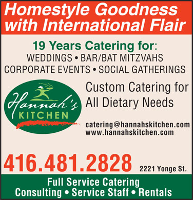 Hannah's Kitchen Restaurant & Catering (416-481-2828) - Display Ad