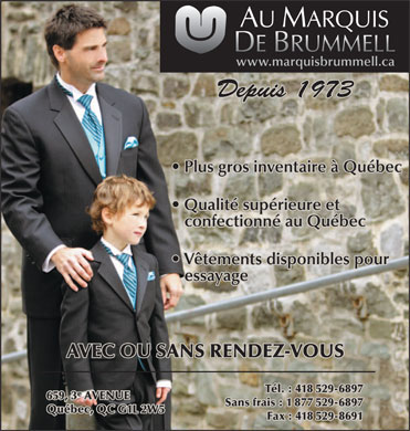 Au Marquis de Brummell Inc (418-529-6897) - Display Ad
