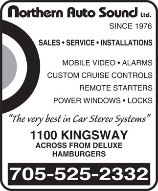 Northern Auto Sound Ltd (705-525-2332) - Display Ad