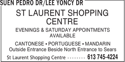 Suen Pedro Dr. / Lee Yoncy Dr. (613-745-4224) - Display Ad