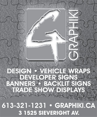 Graphiki (613-321-1231) - Display Ad - 3 1525 SIEVERIGHT AV.