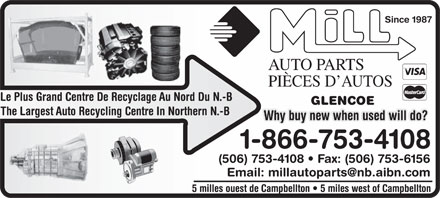 Mill Auto Parts Recycling (506-753-4108) - Annonce illustrée