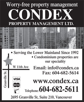 Condex Property Management Ltd (604-682-5611) - Display Ad