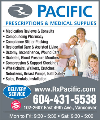 Pacific Prescriptions & Medical Supplies (604-431-5538) - Annonce illustrée