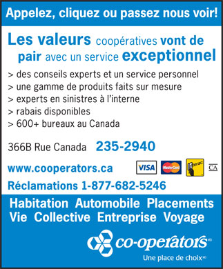 The Co-operators (506-235-2940) - Annonce illustrée