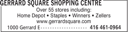 Gerrard Square Shopping Centre (416-461-0964) - Annonce illustrée======= - GERRARD SQUARE SHOPPING CENTRES - STAPLES - HOME DEPOT - WINNERS