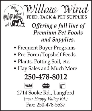 Willow Wind Feed & Pet Food (250-478-8012) - Display Ad