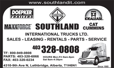 Southland International Trucks Ltd (403-359-9059) - Annonce illustrée