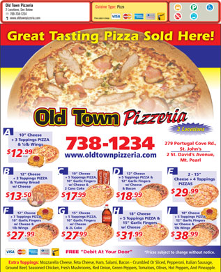 Old Town Pizzeria (709-738-1234) - Menu