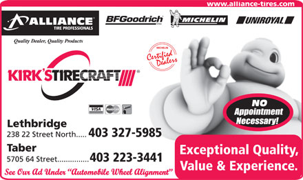Kirks Tire-Alliance Tire Professionals (403-327-5985) - Annonce illustrée