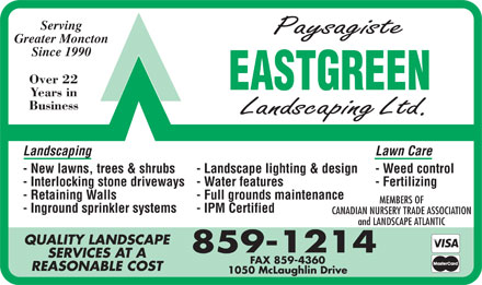 EastGreen Landscaping Ltd (506-859-1214) - Annonce illustrée