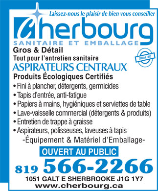 Cherbourg (819-566-2266) - Annonce illustr&eacute;e