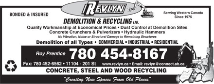 Revlyn Demolition & Recycling Ltd (780-454-8167) - Display Ad