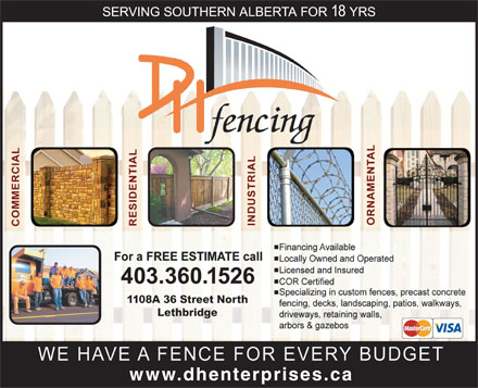 DH Fencing (403-332-6174) - Display Ad - Lethbridge www.dhenterprises.c 1108A 36 Street North