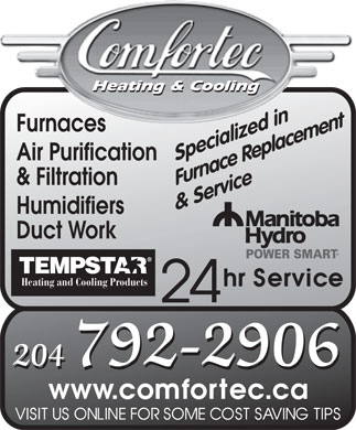 Comfortec Heating & Air Conditioning (204-792-2906) - Display Ad