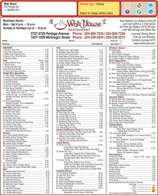 Wok House Restaurant (204-889-7235) - Menu