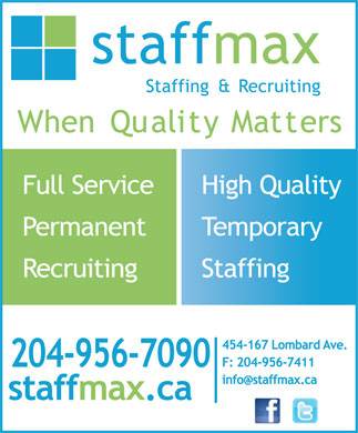 Staffmax Staffing & Recruiting (204-956-7090) - Display Ad