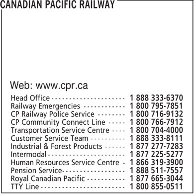 Canadian Pacific Railway (1-888-333-6370) - Display Ad