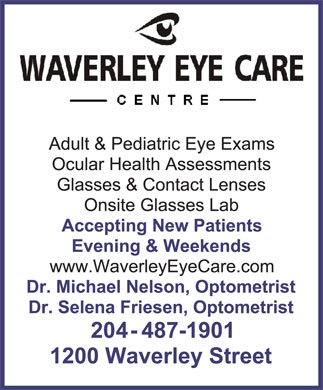 Waverley Eye Care Centre (204-487-1901) - Annonce illustrée