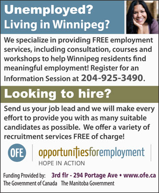 Opportunities For Employment Inc (204-925-3490) - Annonce illustrée - 3rd flr - 294 Portage Ave   www.ofe.ca 3rd flr - 294 Portage Ave   www.ofe.ca
