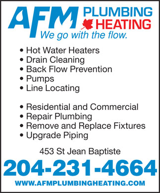 AFM Plumbing & Heating (204-515-1123) - Display Ad