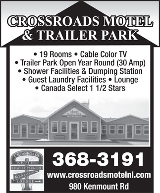 Crossroads Motel & Trailer Park (709-368-3191) - Display Ad