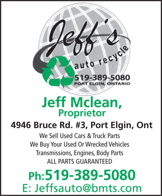 Jeff's Auto Recycle (519-389-5080) - Display Ad