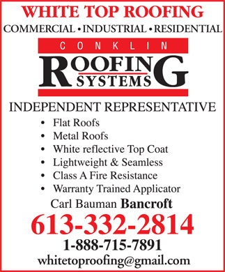 White Top Roofing Inc (613-332-2814) - Display Ad - COMMERCIAL   INDUSTRIAL   RESIDENTIAL whitetoproofinggmail.com COMMERCIAL   INDUSTRIAL   RESIDENTIAL whitetoproofinggmail.com
