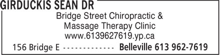 Dr. Sean Girduckis (613-707-2127) - Display Ad - Bridge Street Chiropractic & Massage Therapy Clinic www.6139627619.yp.ca